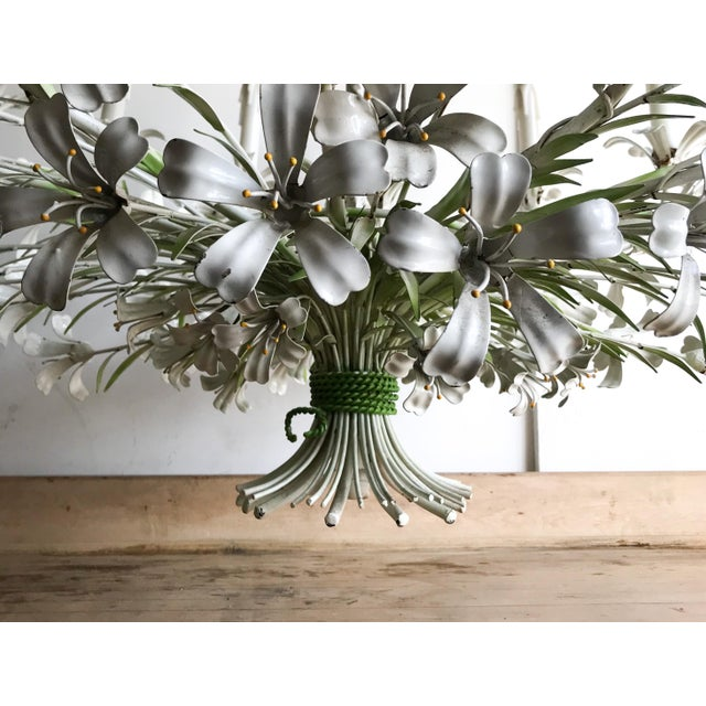 1950s Vintage Floral 1950s Monumental Italian Tole Painted Chandelier For Sale - Image 5 of 9