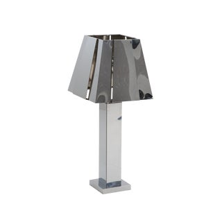 Sculptural 1970s Curtis Jere, Chrome Tall Table Lamp For Sale