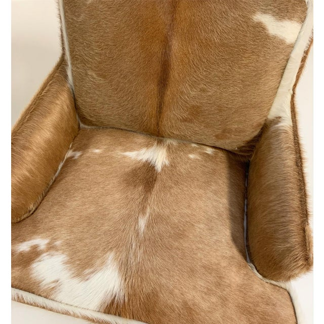 Tan Flair Inc. Lounge Chairs Restored in Brazilian Cowhide - Pair For Sale - Image 8 of 10