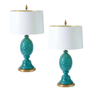 Italian Palm Beach Ceramic Teal Blue/Turquoise Pineapple Lamp, A-Pair For Sale