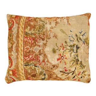 "Vintage English Needlepoint Pillow, With Terracotta Linen Backing 20"" x 16"" For Sale"