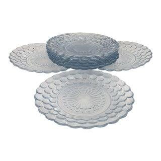 1930s Mid-Century Modern Depression Glass Ice Blue Bubble Pattern Dessert Plates - Set of 8