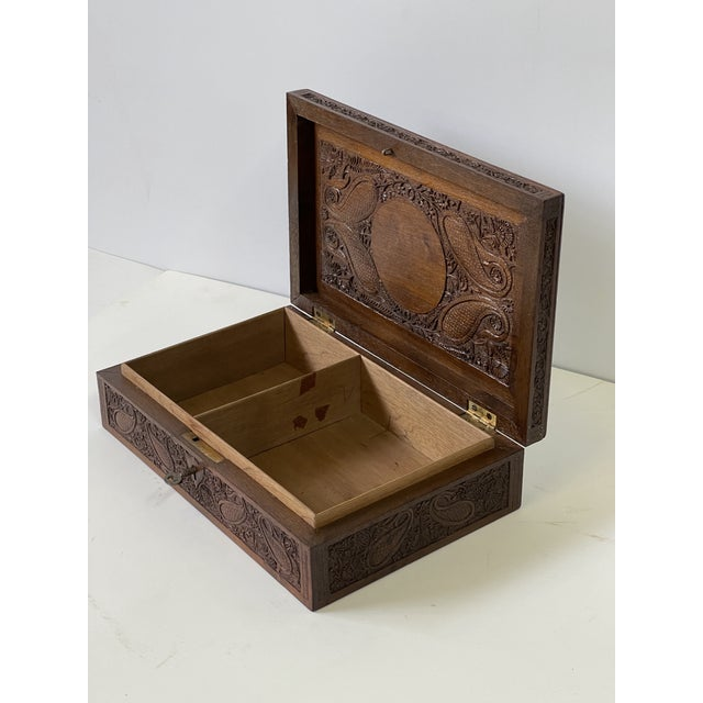 Brown Early 20th Century Wooden Carved Box For Sale - Image 8 of 13