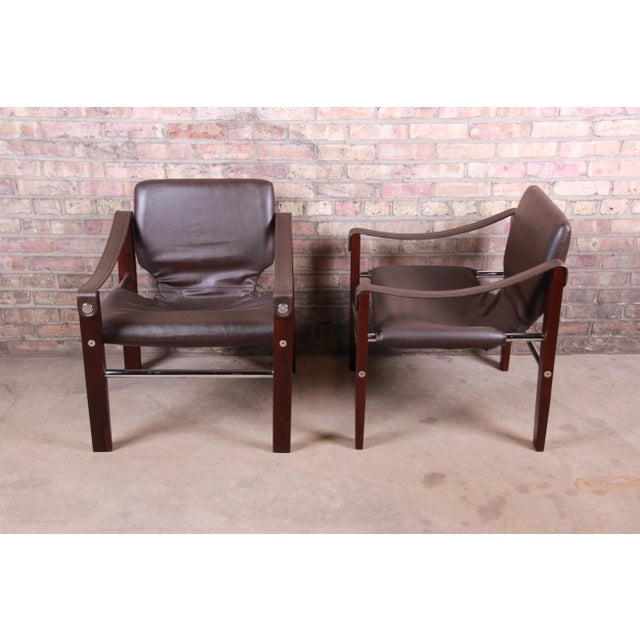 Maurice Burke for Pozza Mahogany and Leather Safari Chairs, Set of Four For Sale - Image 11 of 13