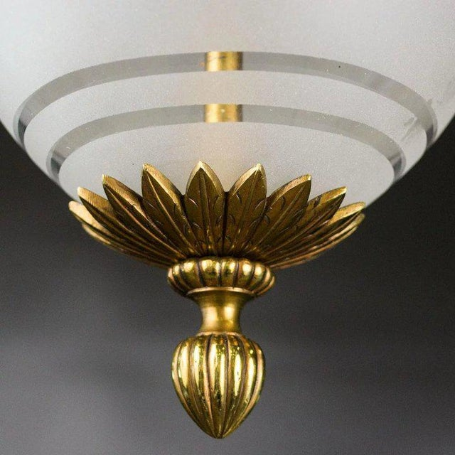 1930s 1930's Brass Pendant with Frosted Glass Dome and Crystal Accents For Sale - Image 5 of 7