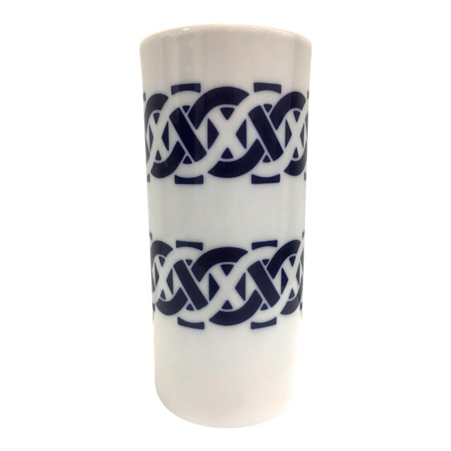 Sargadelos Cylindrical Blue and White Ceramic Vase For Sale