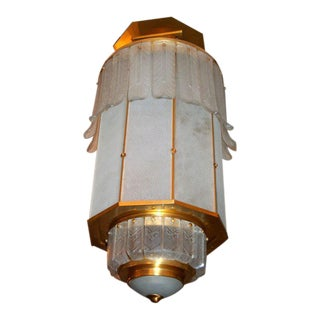 Art Deco Monumental Lantern by Sabino For Sale