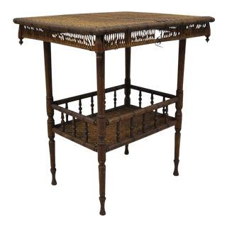 Antique Victorian Wicker & Oak Wood Hall Table