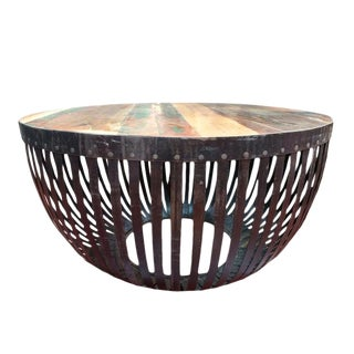 Round Iron & Reclaimed Wood Coffee Table For Sale