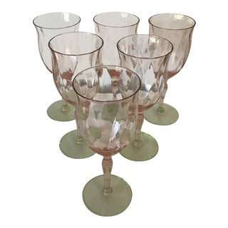 Pink and Green Diamond Optic Watermelon Glasses - Set of 6 For Sale