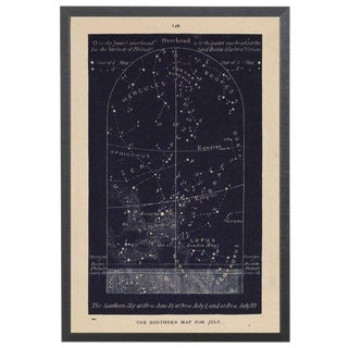 Navy Southern Star Map in Black Shadowbox 12 1/8x 17 1/8 For Sale