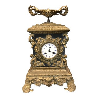 Late 1800's French Marble & Guilt Bronze Ormolu Mantle Clock For Sale