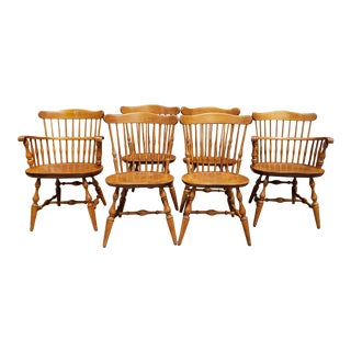 Vintage Spindle Back Windsor Style Dining Chairs- Set of 6 For Sale