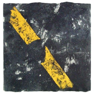 "Niederhausen Monoprint on Paper ""Yellow Stripe"", Contemporary Black and Yellow Abstract For Sale"