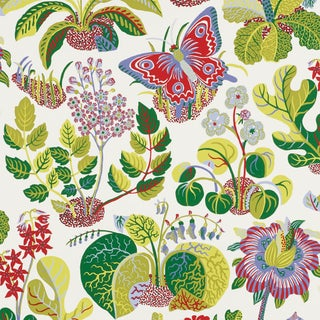 Sample - Schumacher X Josef Frank Exotic Butterfly Wallpaper in Multi For Sale