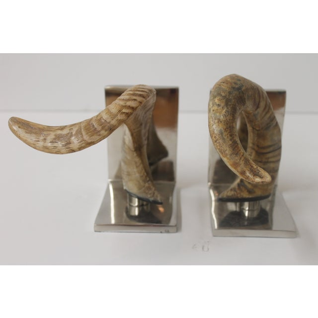 Horn Bookends on Steel Bases - Image 4 of 7