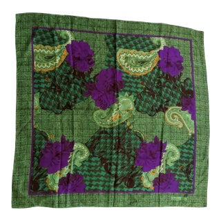 Vintage Christian Dior Floral Paisley Scarf For Sale