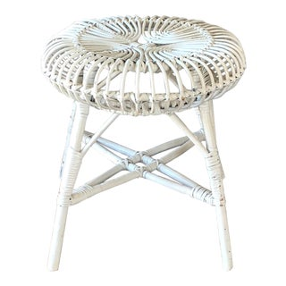 Franco Albini White Rattan Stool For Sale