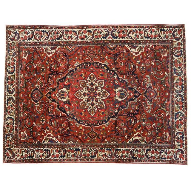 1930s Antique Persian Bakhtiari Colonial and Federal Style Area Rug - 13′2″ × 17′4″ For Sale - Image 4 of 5