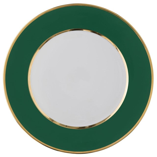 """""""Schubert"""" Charger in Emerald Green & Narrow Gold Rim For Sale - Image 13 of 13"""