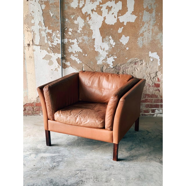 Wood Stouby Leather Chair For Sale - Image 7 of 7