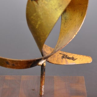 Vintage Mid-Century William Bowie Brutalist Gold Leaf Metal Sculpture Preview