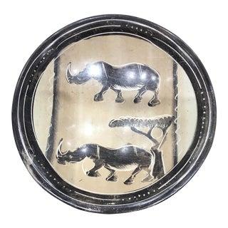 Carved Soapstone Rhino Dish