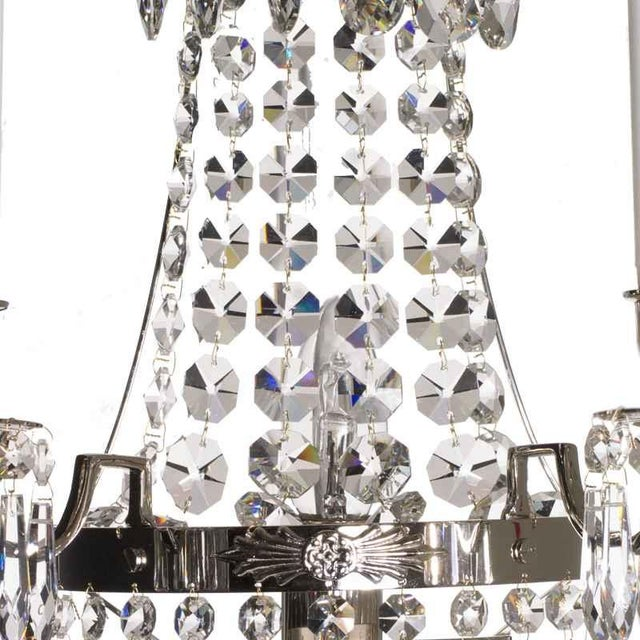 Baroque Nobel Nickel Crystal Sconce Chandelier For Sale - Image 3 of 5