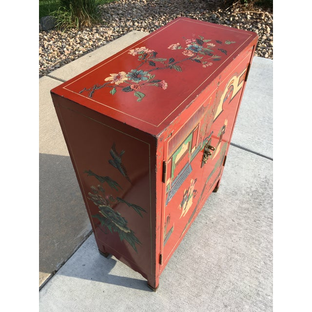 Red Early 20th Century Chinoiserie Hand Painted Cabinet For Sale - Image 8 of 13