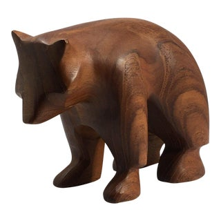 Danish Modern Hand Turned Wood Bear Figurine For Sale