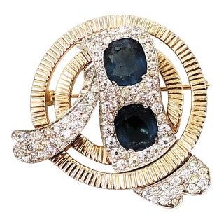 1950s Jomaz Faux-Sapphire Brooch For Sale