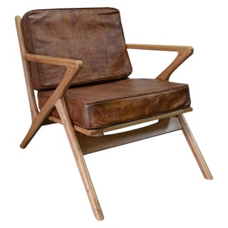 New Bentwood Armchair With Wood Seat and Back and Brown Skin Cushions For Sale