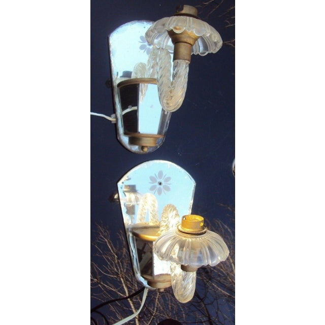 Murano C. 1940's Venetian Murano Hollywood Regency Crystal Mirrored Wall Sconces - a Pair For Sale - Image 4 of 7