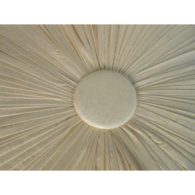 White Mid-Century Modern Tufted Silk Ottomans- a Pair For Sale - Image 8 of 9