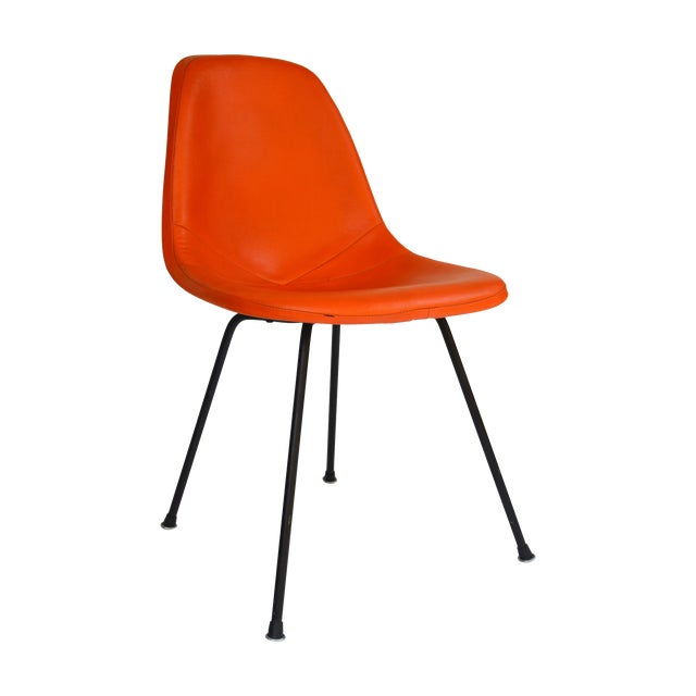 Herman Miller Eames Orange Vinyl Side Shell Chair For Sale