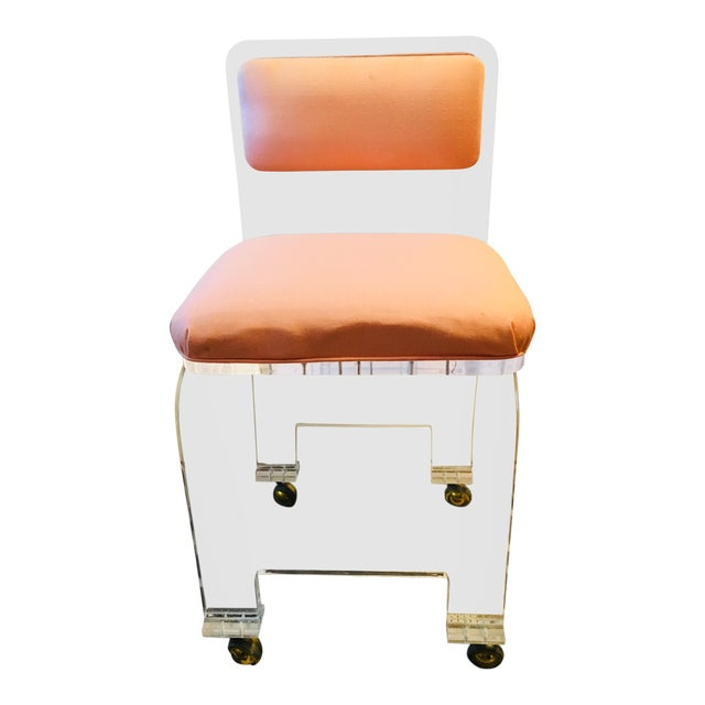 Late 20th Century Vintage Lucite Swivel Waterfall Vanity Stool For Sale