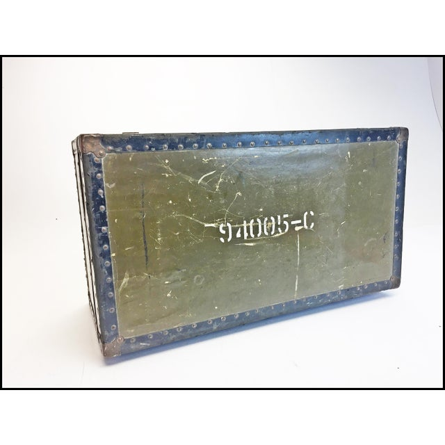 Vintage Industrial Green Us Military Foot Locker Trunk For Sale - Image 10 of 13