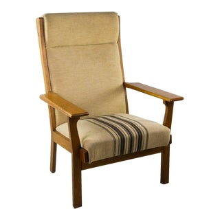 Mid-Century Modern Hans Wegner Ge-320 Oak Armchair With Original Upholstery For Sale
