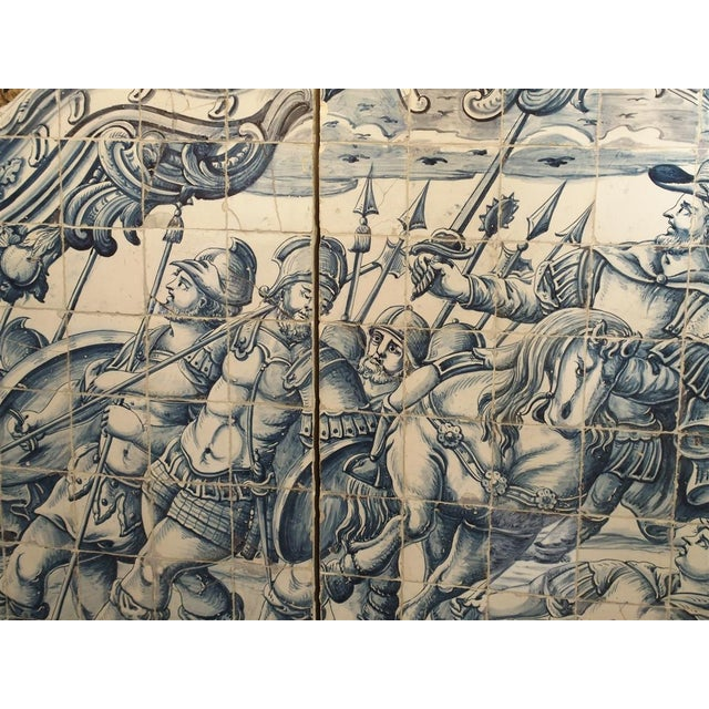 Ceramic Monumental 3-Piece 18th Century Azulejo Mural Panel From Portugal For Sale - Image 7 of 13