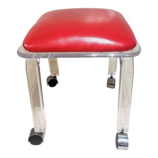 Vintage Lucite Side Chair W/ Red Seat For Sale