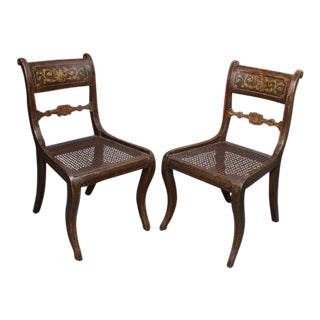 Set of Four Regency Painted Side Chairs