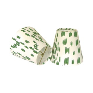 New, Made to Order, Drum Chandelier or Sconce Shades, Brunschwig & Fils Les Touches Green Animal Print Fabric, Set of Two