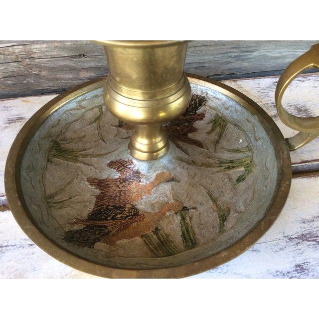 Vintage Brass Mother-of-Pearl Candle Holder - Image 3 of 6