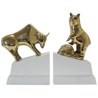 Polished Brass Bull and Standing Bear Bookends on Lacquered Blocks