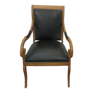 Antique Biedermeier Walnut Desk Chair With Leather Upholstery and Brass Nail Heads For Sale