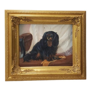 20th C. King Charles Spaniel Oil Painting by D. Grant For Sale