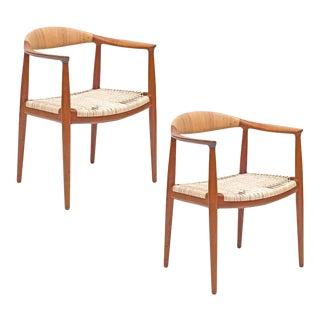 """Pair of Hans J. Wegner Woven Cane Teak """"the Chairs"""" for Johannes Hansen For Sale"""