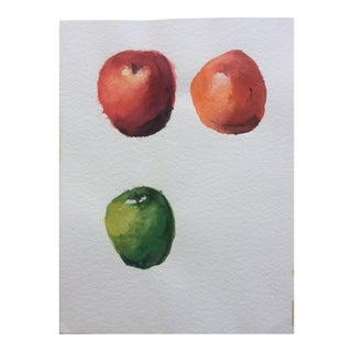 Three Apples, Vintage Watercolor Still Life For Sale