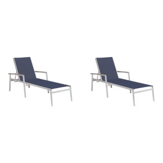 Outdoor Sling Chaise Lounge, Vintage and Dark Blue (Set of 2) For Sale