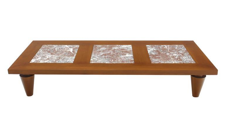 Large Rectangular Coffee Table On Heavy Legs With Marble Inserts   Image 2  Of 8